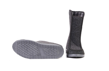 Pair of black felt boots.