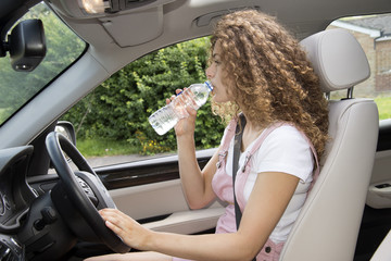Young female driver drinking bottled water