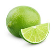 Citrus lime fruit with slice isolated on white background