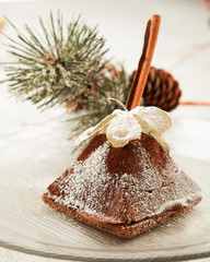 Cookies with cinnamon, exotic fruits and Christmas ornaments