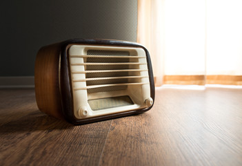 Vintage radio next to the window