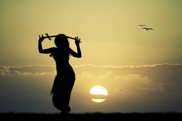 sword bellydance at sunset
