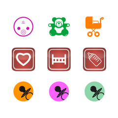 Icons buttons set children baby