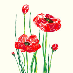 Abstract illustration of red poppies.