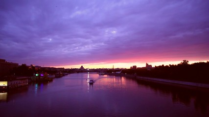 Sunrise over the Moscow River. View from Andrewsky Bridge. Timel