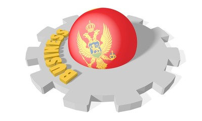 sphere in gear textured by montenegro flag, business golden word
