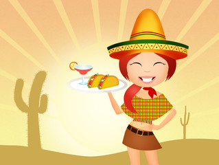 Mexican girl with tacos and margarita