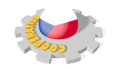 sphere in gear textured by czech flag, cooperation word