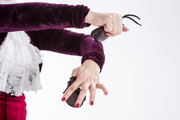 closeup hands with castanets