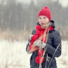 happy girl winter snow runs