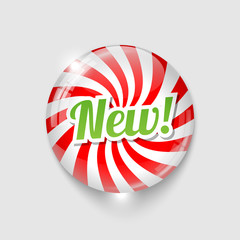 glossy button with spiral and text NEW