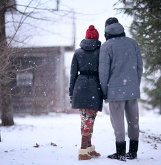 lovers in winter village