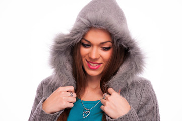 Brunette in the gray sweater with hood