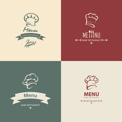 set of four chef menu design