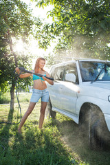 girl washing car