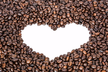 white heart shaped from coffee beans