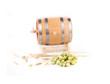 Wooden barrel and hops.