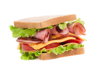 Appetizing sandwich with ham and cheese.