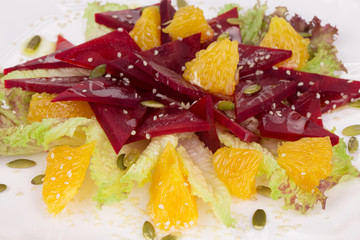 Beet salad with orange and sesame.