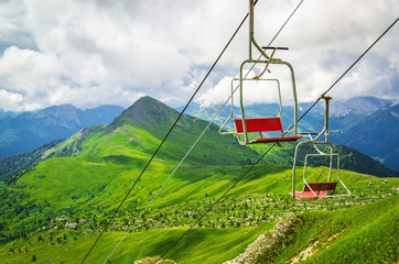 Chairlift in the Dolomite Alps to Rifugio Averau, Giau, Italy