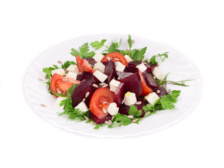 Beet salad with tomatoes and feta cheese.
