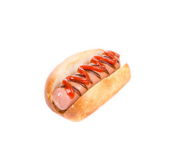 Tasty hot dog with ketchup.