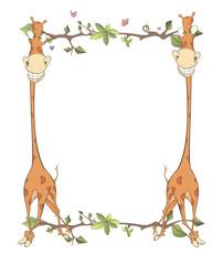 Children's frame with giraffes cartoon