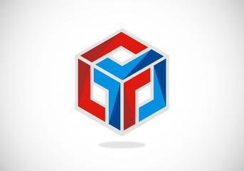 cube 3D abstract vector logo