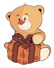 A stuffed toy bear cub and a box cartoon
