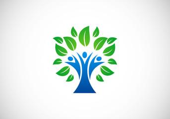 tree people botany ecology vector logo