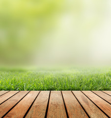Green grass and wooden plank on the blurred background.