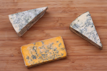 Pieces of blue cheese and Blacksticks Blue Cheese