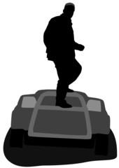 man on a car hood