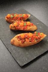 bruschetta with orange tomatoes