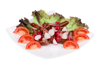 Radish salad with sausage.