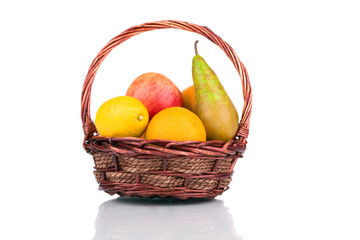 Wicker basket with fruits.