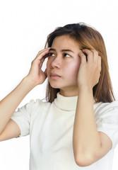 Asian woman with a headache .