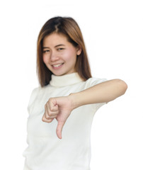 Asian woman  giving her  thumbs down.