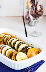 vegetable ratatouille dish in a baking dish, glass