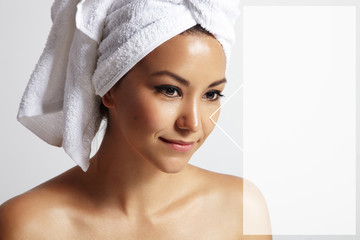 woman with a towel on her head and 3D transparent text space