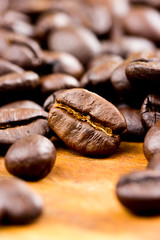 Coffee on wooden background Fresh coffee beans on wood ,ready to