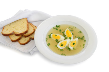 plate diet soup with eggs