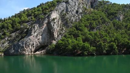 Panoramic shot of river Krka`s shore