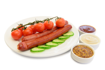 grilled sausages with salad