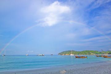Pat ta Ya beach and rainbow on morning