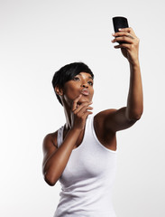 black woman making selfie