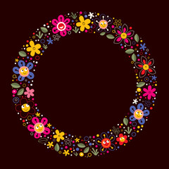 cute flowers nature cartoon circle frame background