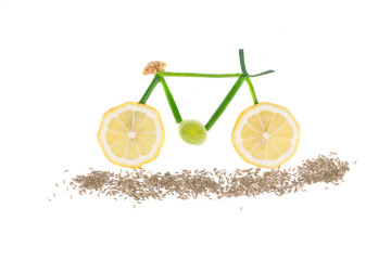 Bicycle from lemon and onion.