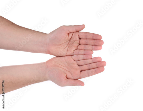 canvas print picture Open palm hand gesture of male hand.
