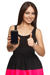 Woman showing a smart phone